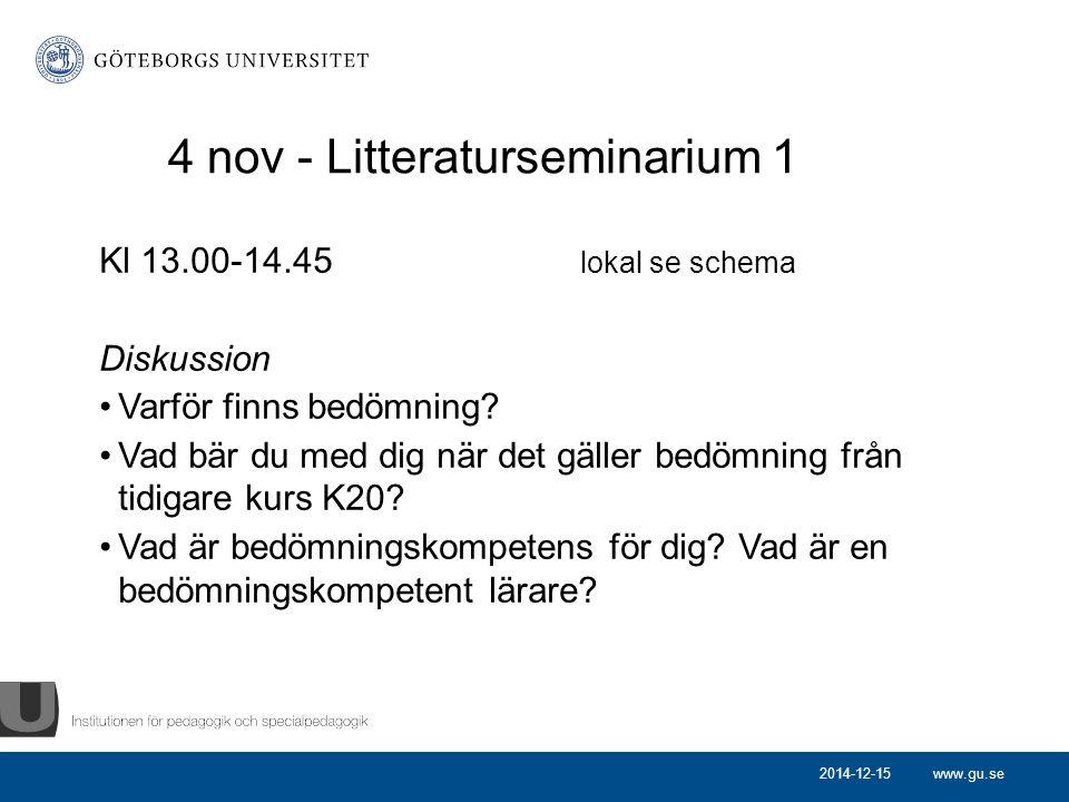 4 nov - Litteraturseminarium 1