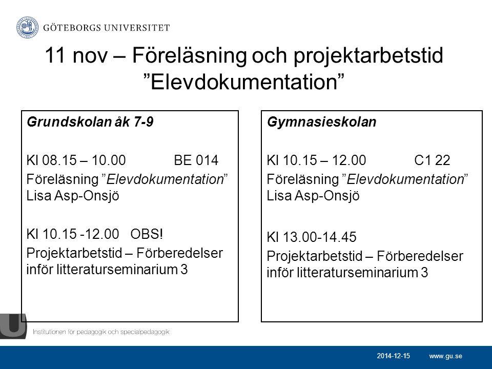 11 nov – Föreläsning och projektarbetstid Elevdokumentation