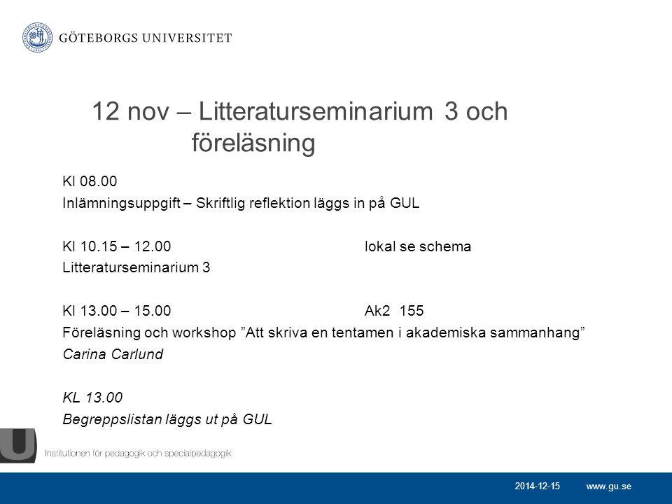 12 nov – Litteraturseminarium 3 och föreläsning