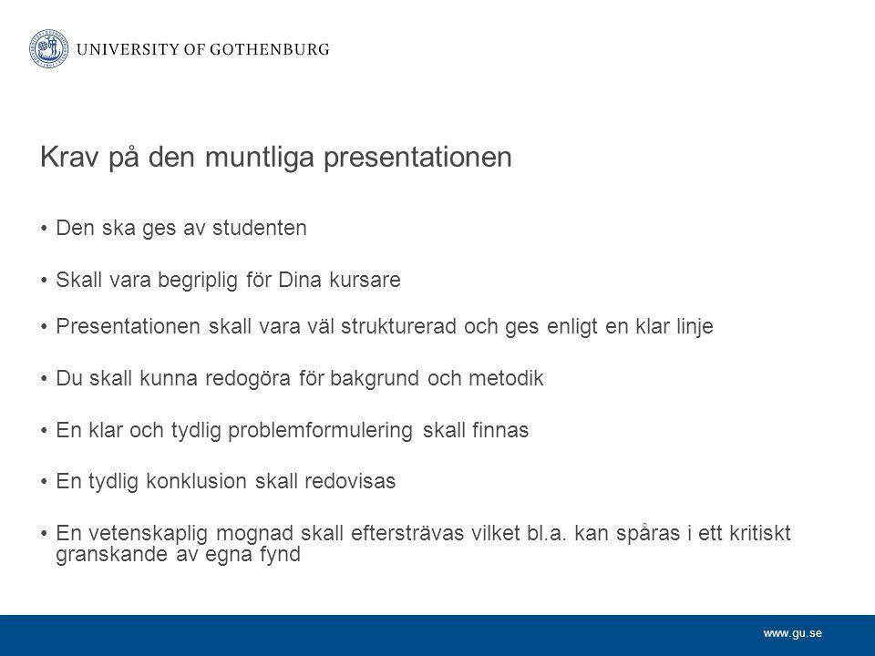Krav på den muntliga presentationen