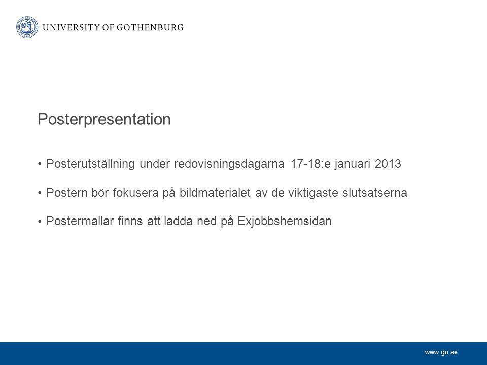 Posterpresentation Posterutställning under redovisningsdagarna 17-18:e januari 2013.