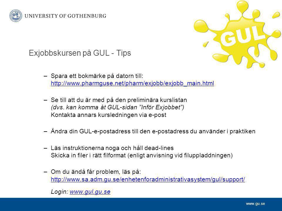 Exjobbskursen på GUL - Tips