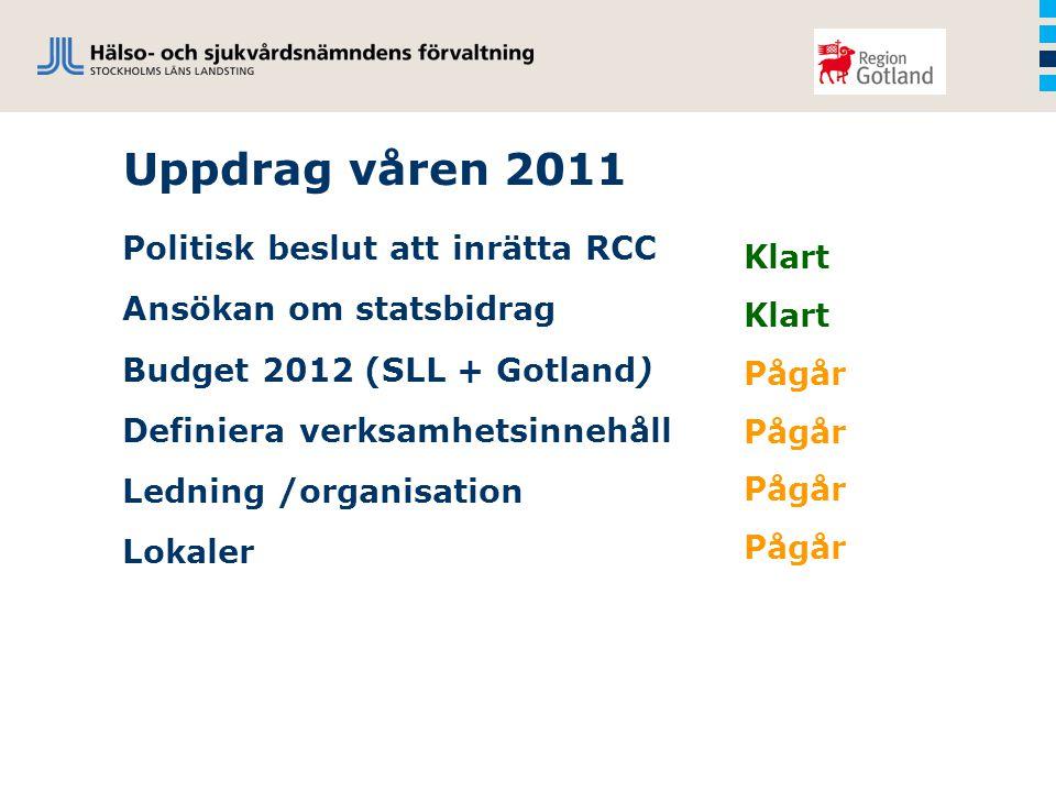 Uppdrag våren 2011 Politisk beslut att inrätta RCC