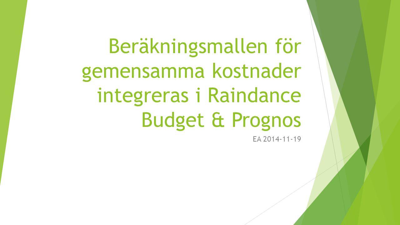 Beräkningsmallen för gemensamma kostnader integreras i Raindance Budget & Prognos