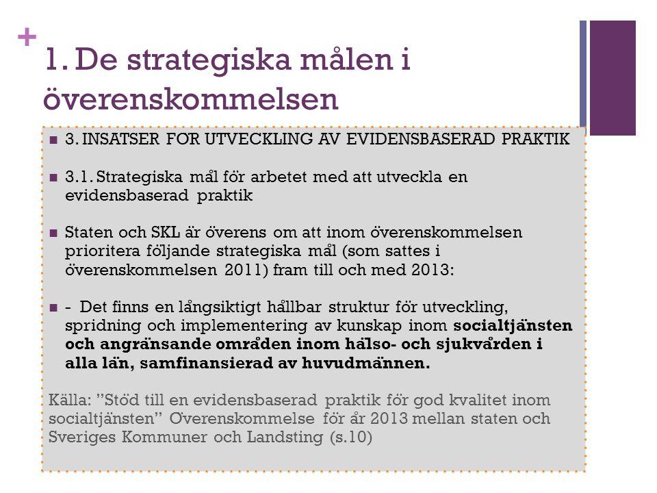 1. De strategiska målen i överenskommelsen