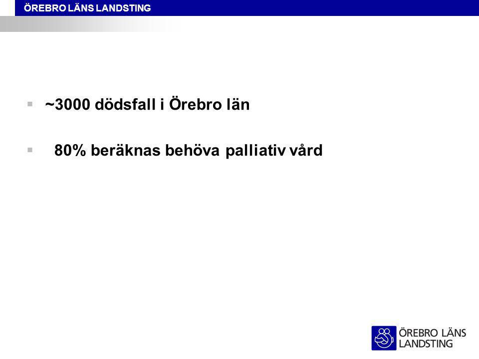 ~3000 dödsfall i Örebro län 80% beräknas behöva palliativ vård