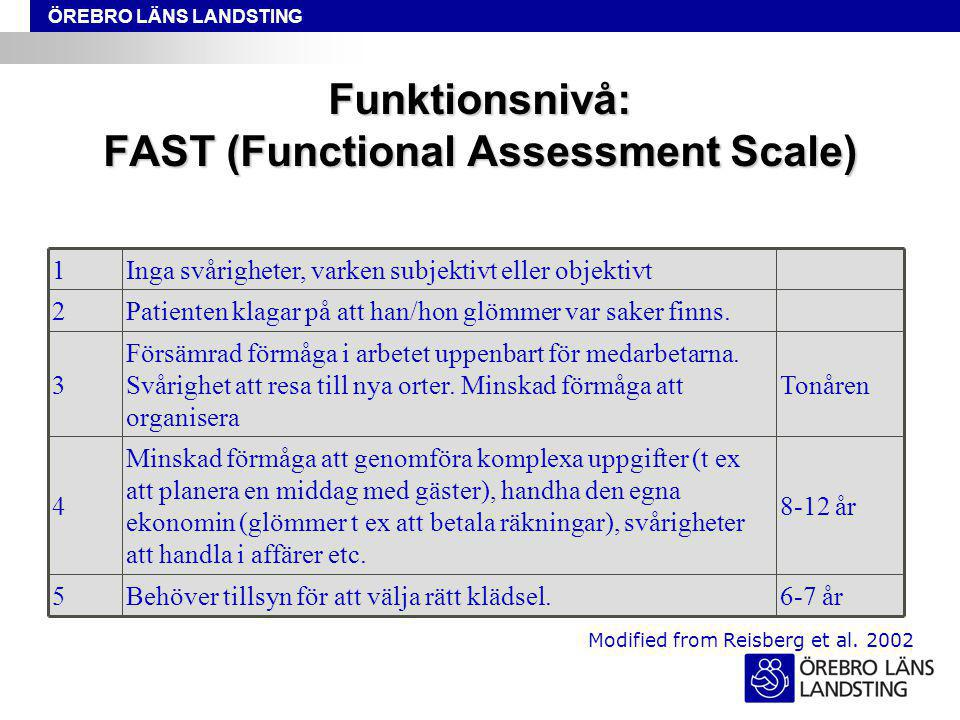 Funktionsnivå: FAST (Functional Assessment Scale)