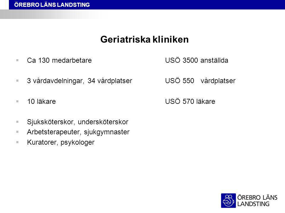 Geriatriska kliniken Ca 130 medarbetare USÖ 3500 anställda