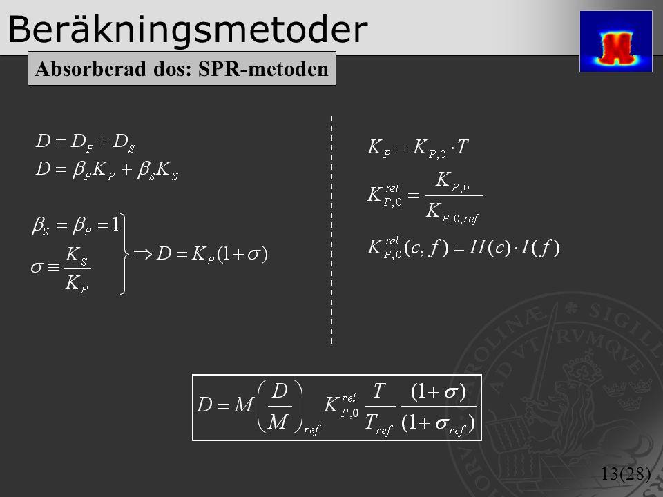 Beräkningsmetoder Absorberad dos: SPR-metoden