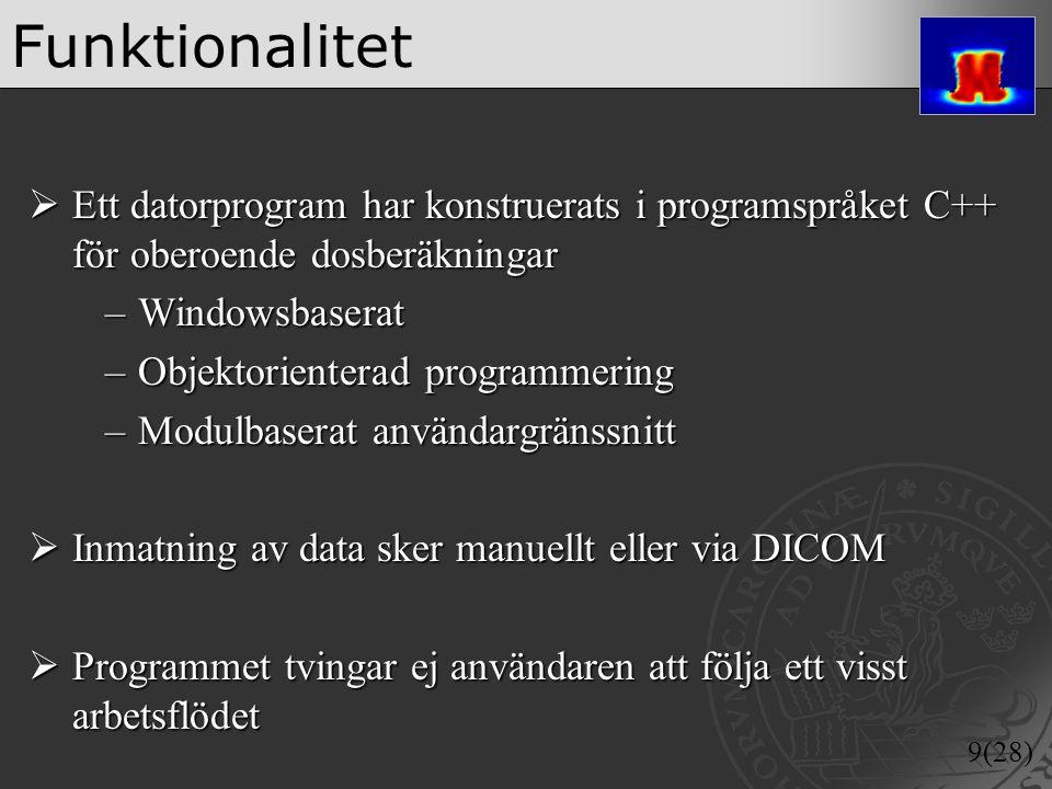 Funktionalitet Ett datorprogram har konstruerats i programspråket C++ för oberoende dosberäkningar.