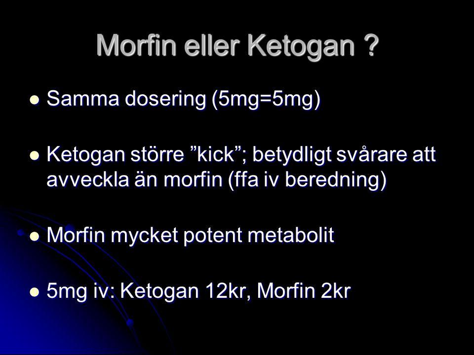 Morfin eller Ketogan Samma dosering (5mg=5mg)