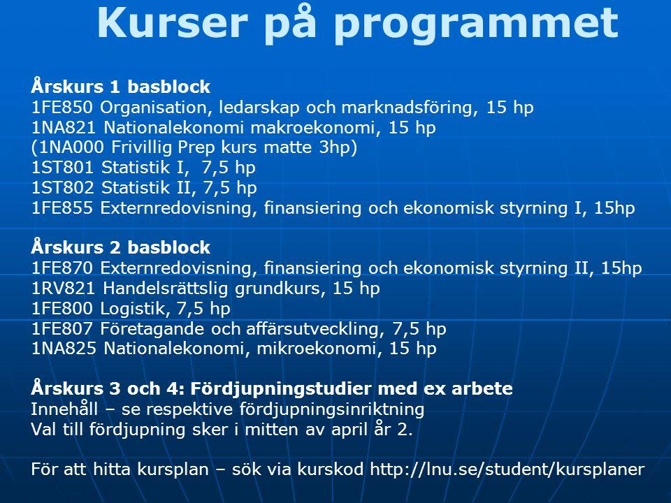 Kurser på programmet Årskurs 1 basblock