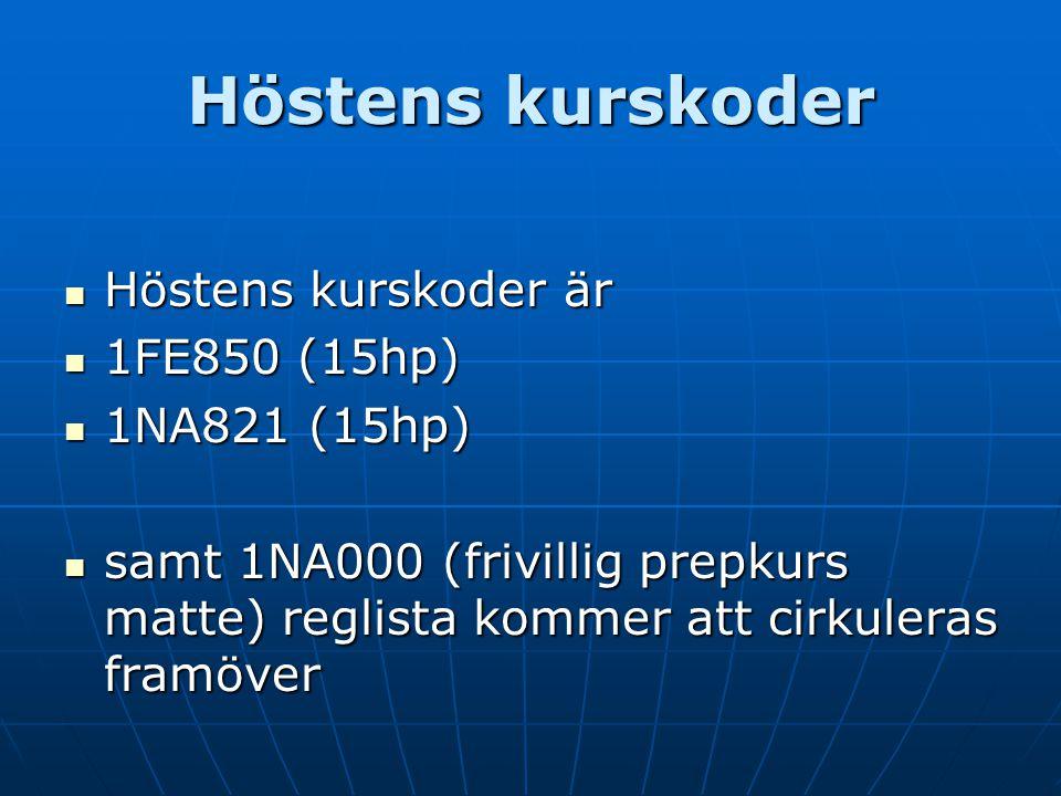 Höstens kurskoder Höstens kurskoder är 1FE850 (15hp) 1NA821 (15hp)