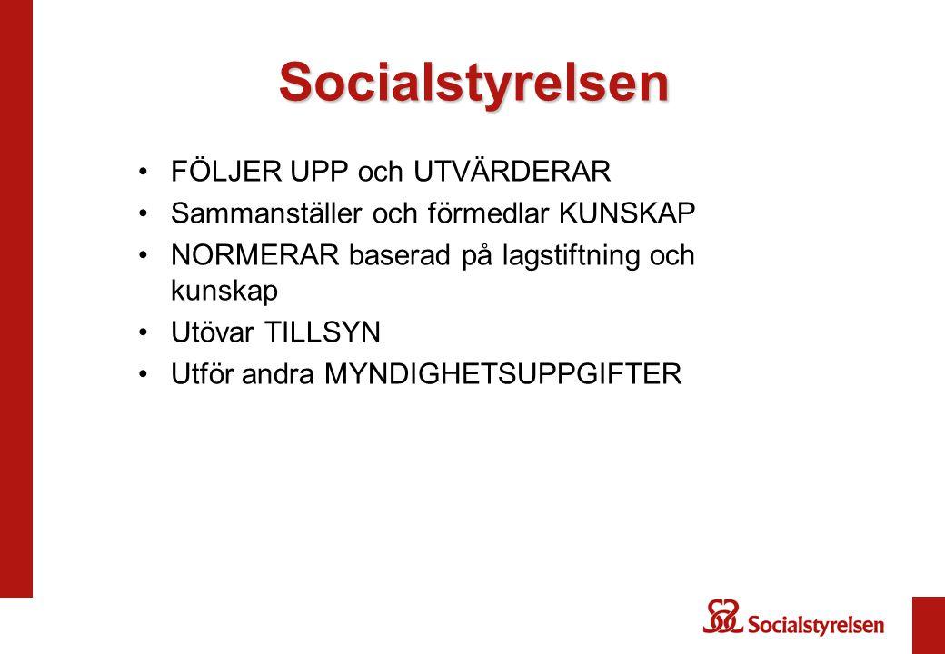 Socialstyrelsen FÖLJER UPP och UTVÄRDERAR