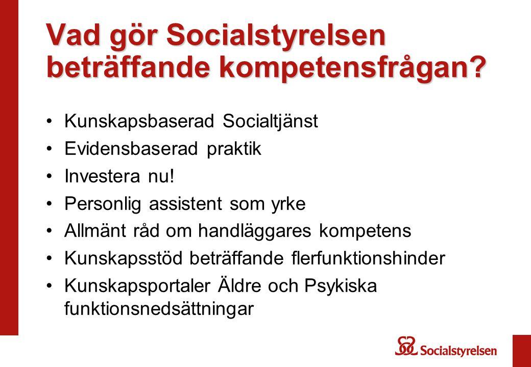 Vad gör Socialstyrelsen beträffande kompetensfrågan