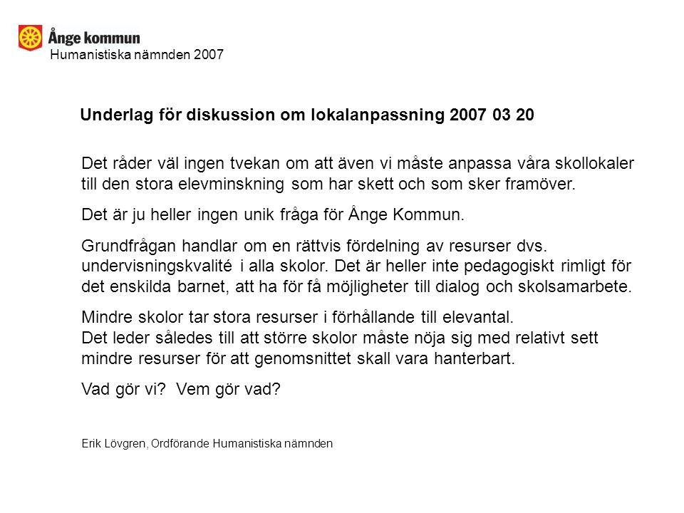 Underlag för diskussion om lokalanpassning 2007 03 20