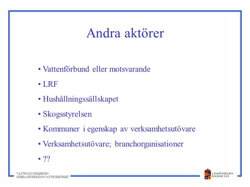 Andra aktörer Vattenförbund eller motsvarande LRF