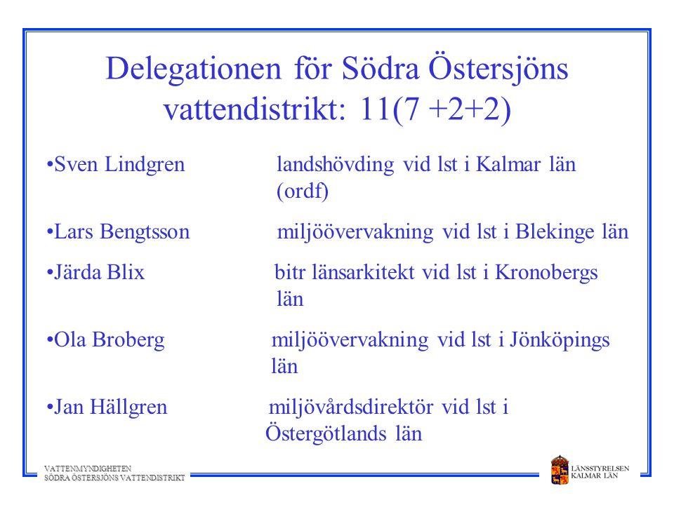Delegationen för Södra Östersjöns vattendistrikt: 11(7 +2+2)