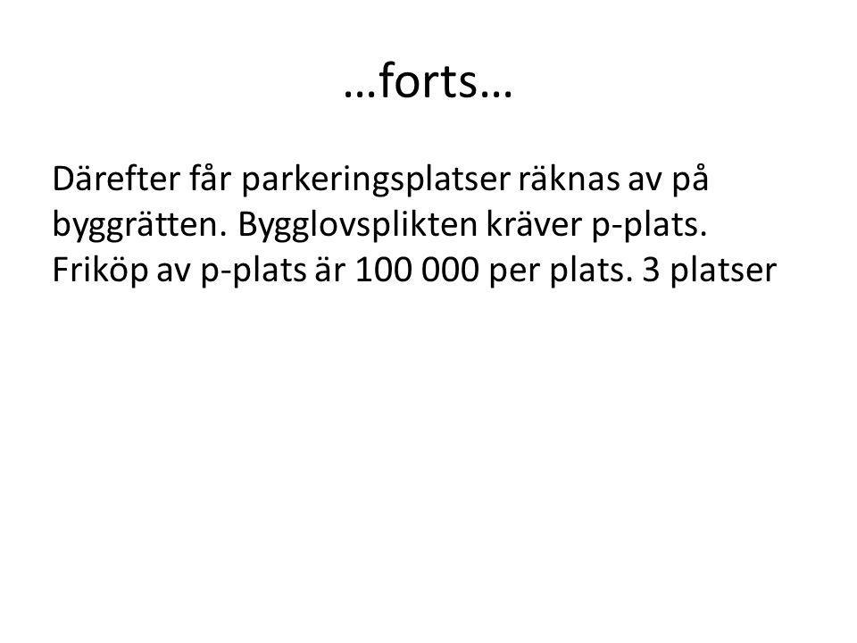 …forts… Därefter får parkeringsplatser räknas av på byggrätten. Bygglovsplikten kräver p-plats. Friköp av p-plats är 100 000 per plats. 3 platser.