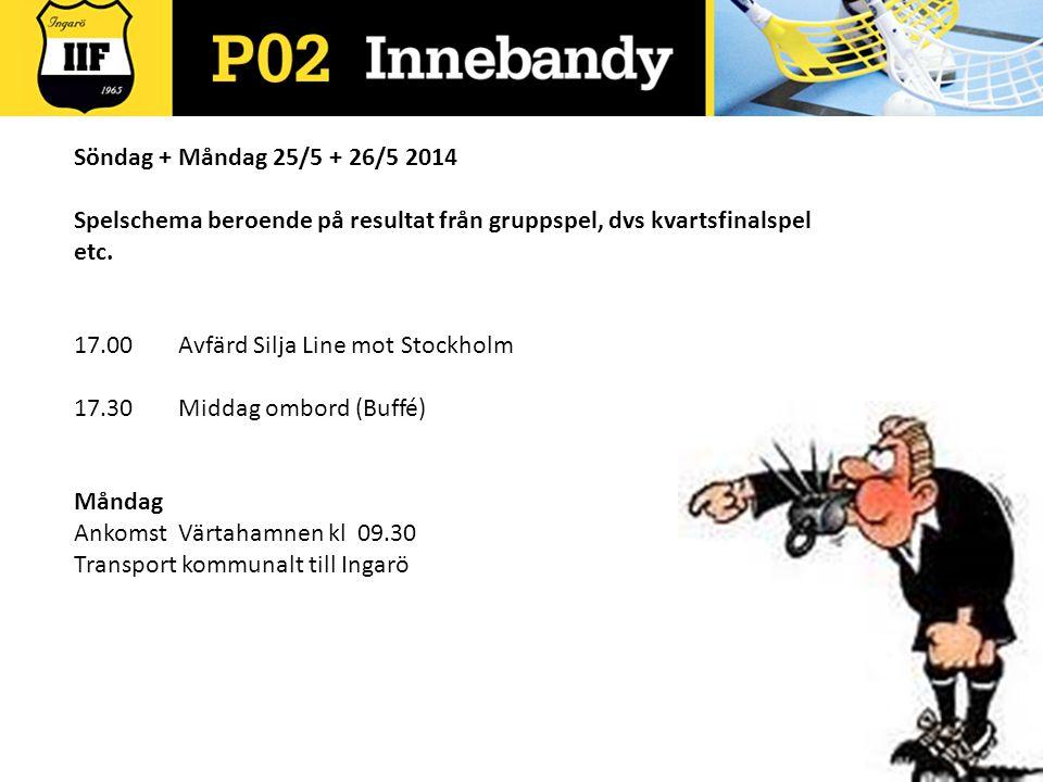 Söndag + Måndag 25/5 + 26/5 2014 Spelschema beroende på resultat från gruppspel, dvs kvartsfinalspel etc.