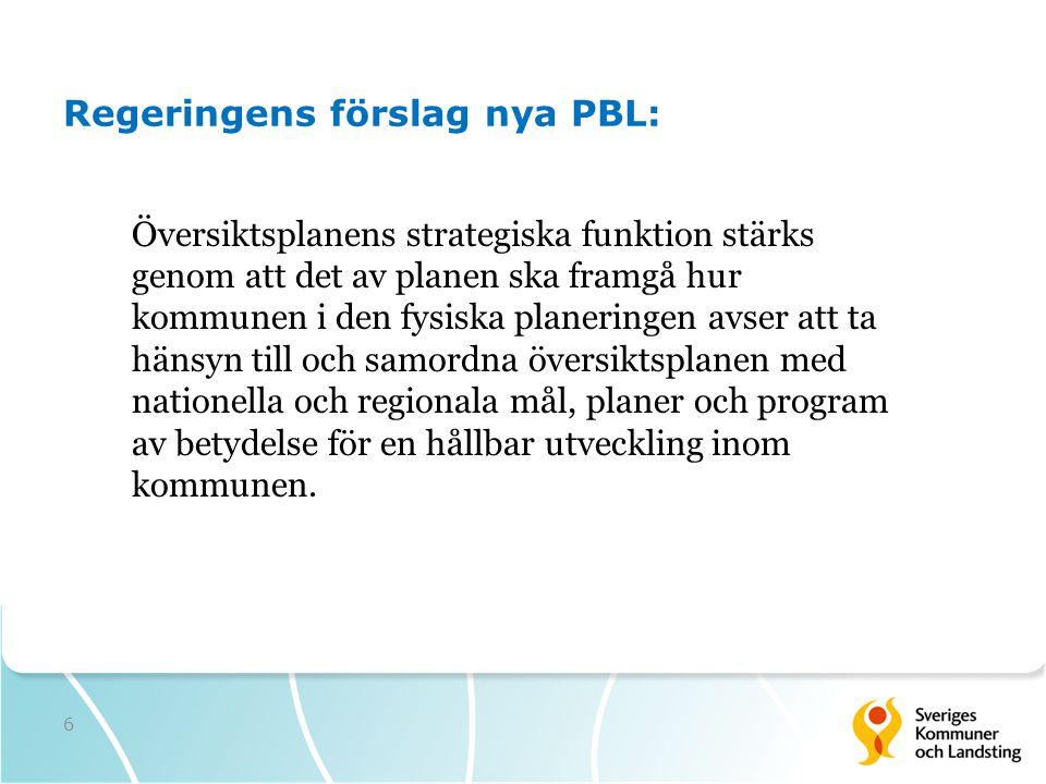 Regeringens förslag nya PBL: