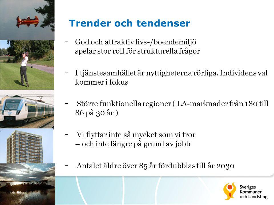 Trender och tendenser God och attraktiv livs-/boendemiljö spelar stor roll för strukturella frågor.