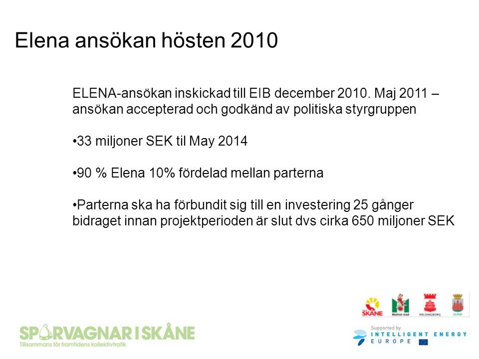 Elena ansökan hösten 2010 ELENA-ansökan inskickad till EIB december 2010. Maj 2011 – ansökan accepterad och godkänd av politiska styrgruppen.