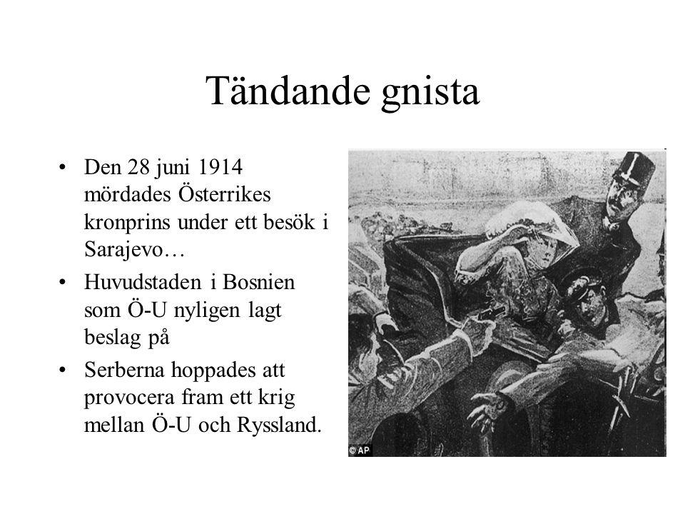 Tändande gnista Den 28 juni 1914 mördades Österrikes kronprins under ett besök i Sarajevo… Huvudstaden i Bosnien som Ö-U nyligen lagt beslag på.