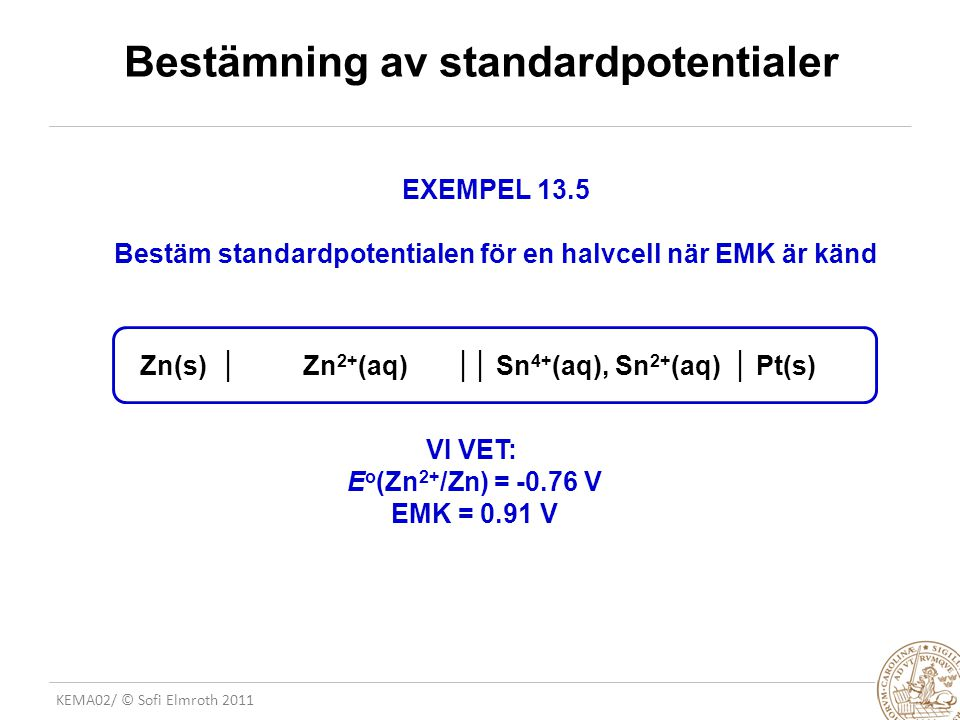 Bestämning av standardpotentialer