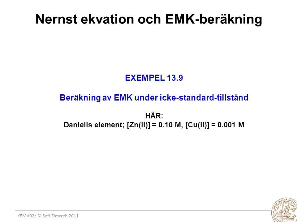 Nernst ekvation och EMK-beräkning