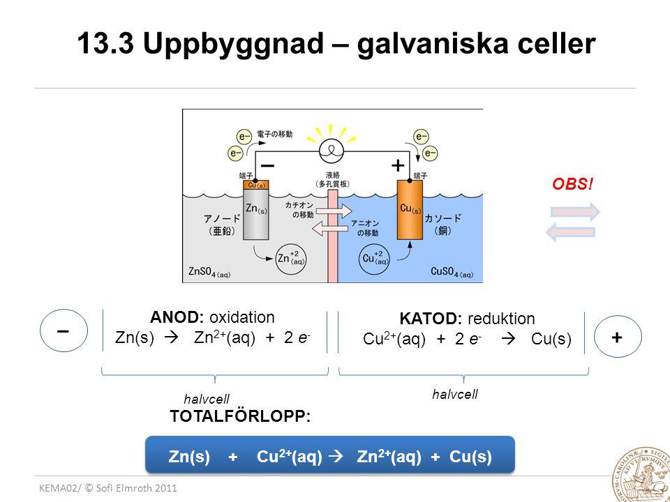 13.3 Uppbyggnad – galvaniska celler