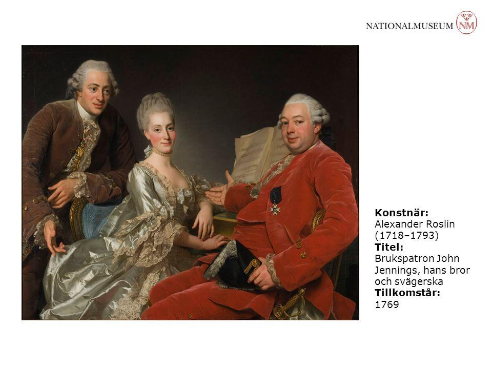 Konstnär: Alexander Roslin (1718–1793) Titel: Brukspatron John Jennings, hans bror och svägerska.