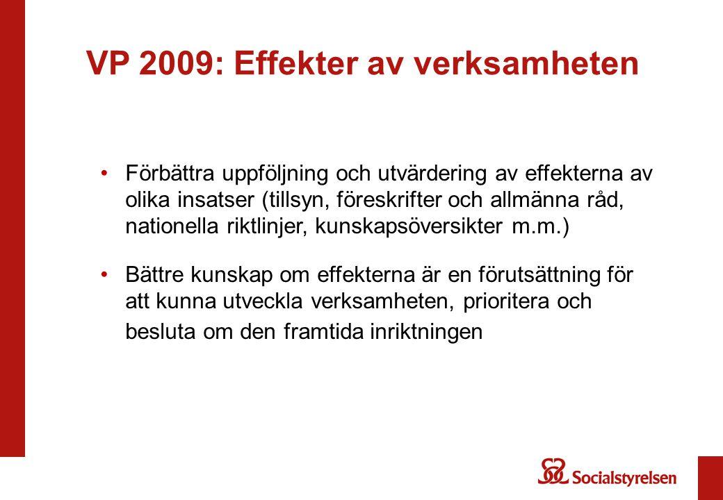 VP 2009: Effekter av verksamheten