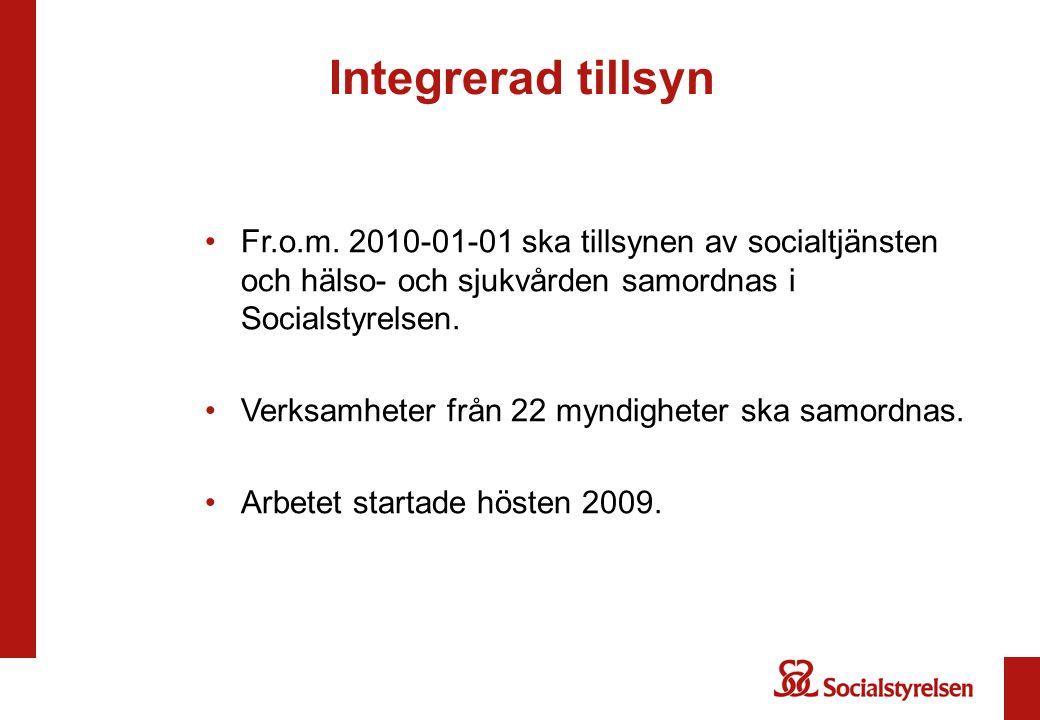 Integrerad tillsyn Fr.o.m. 2010-01-01 ska tillsynen av socialtjänsten och hälso- och sjukvården samordnas i Socialstyrelsen.