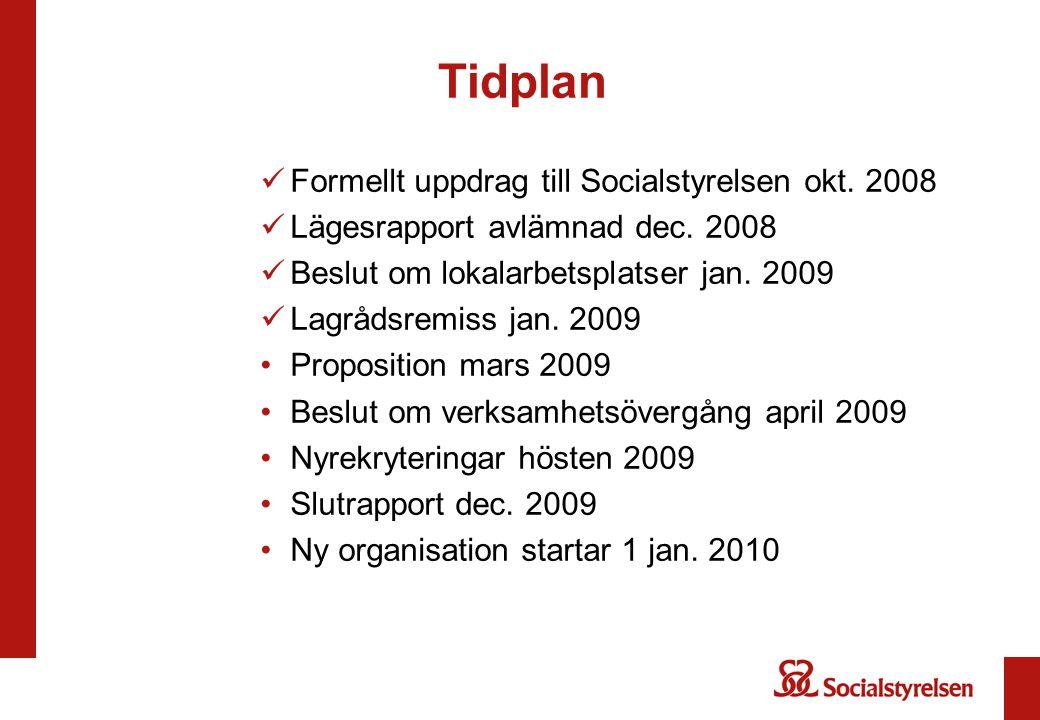 Tidplan Formellt uppdrag till Socialstyrelsen okt. 2008