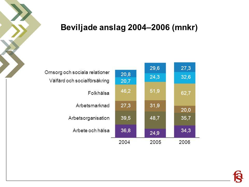 Beviljade anslag 2004–2006 (mnkr)