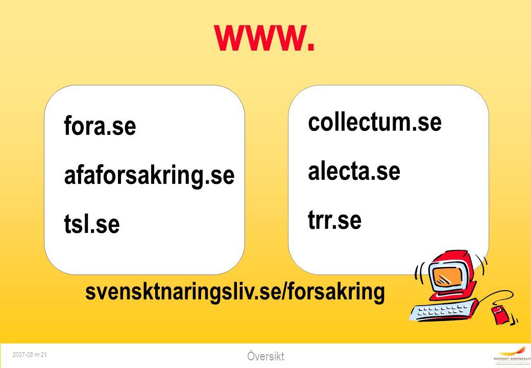 www. collectum.se fora.se alecta.se afaforsakring.se trr.se tsl.se
