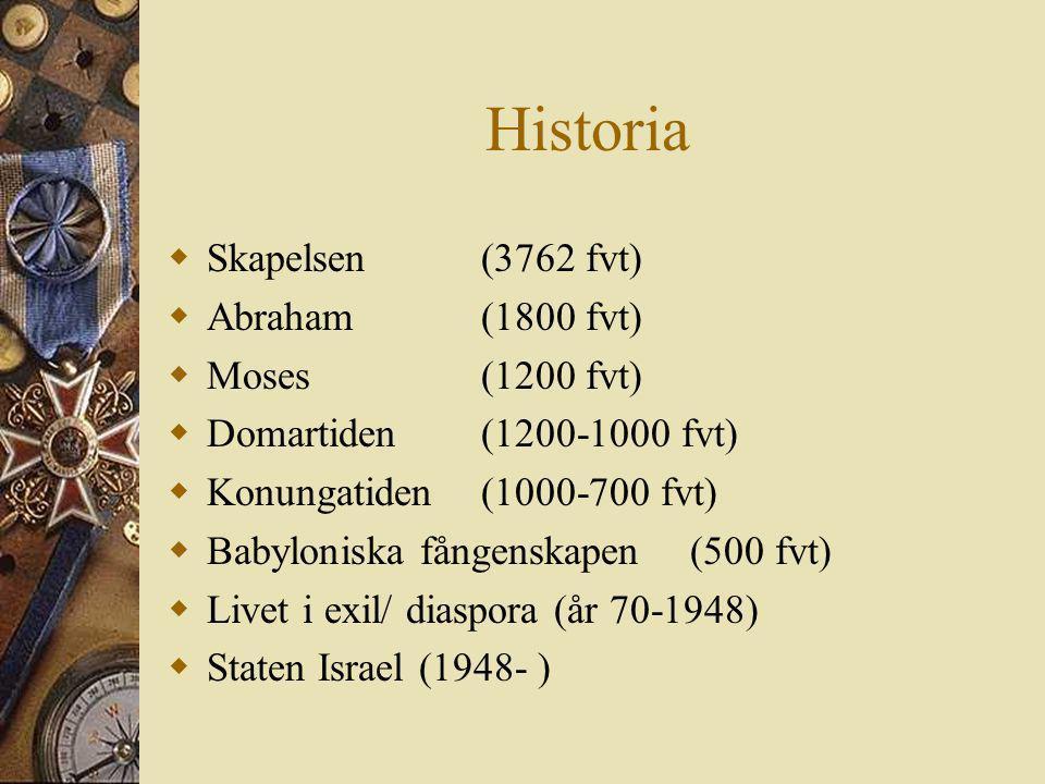 Historia Skapelsen (3762 fvt) Abraham (1800 fvt) Moses (1200 fvt)