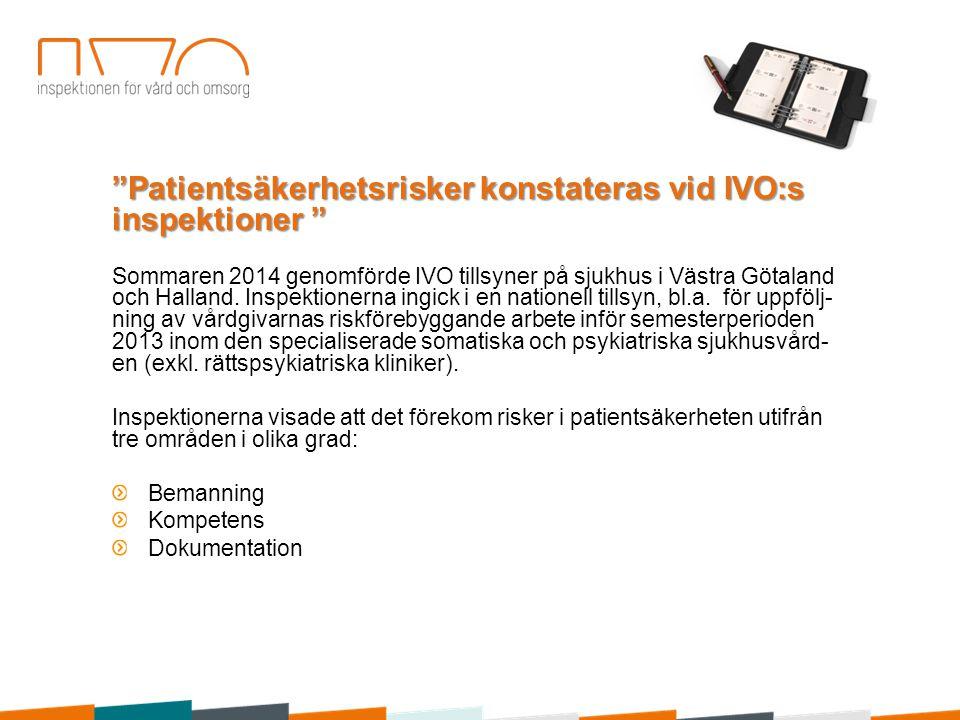 Patientsäkerhetsrisker konstateras vid IVO:s inspektioner