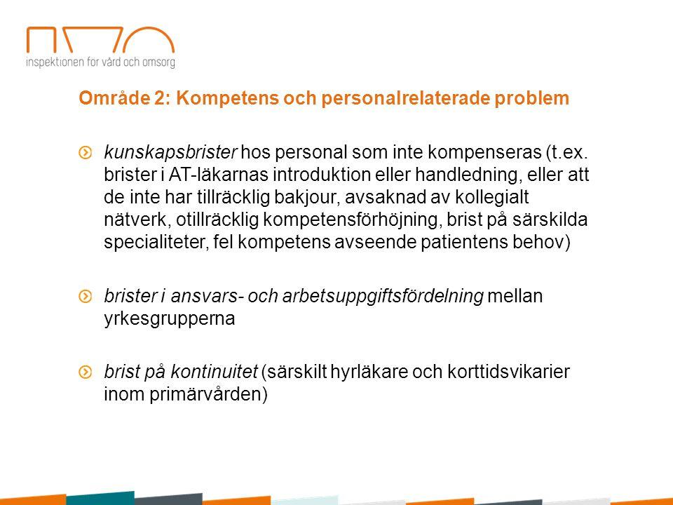 Område 2: Kompetens och personalrelaterade problem