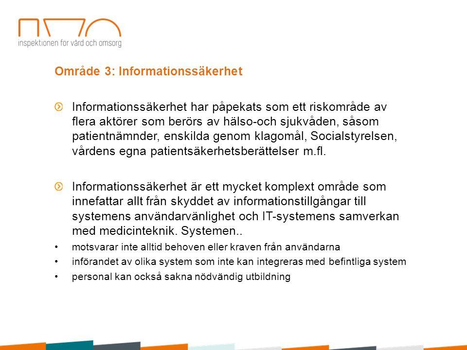 Område 3: Informationssäkerhet