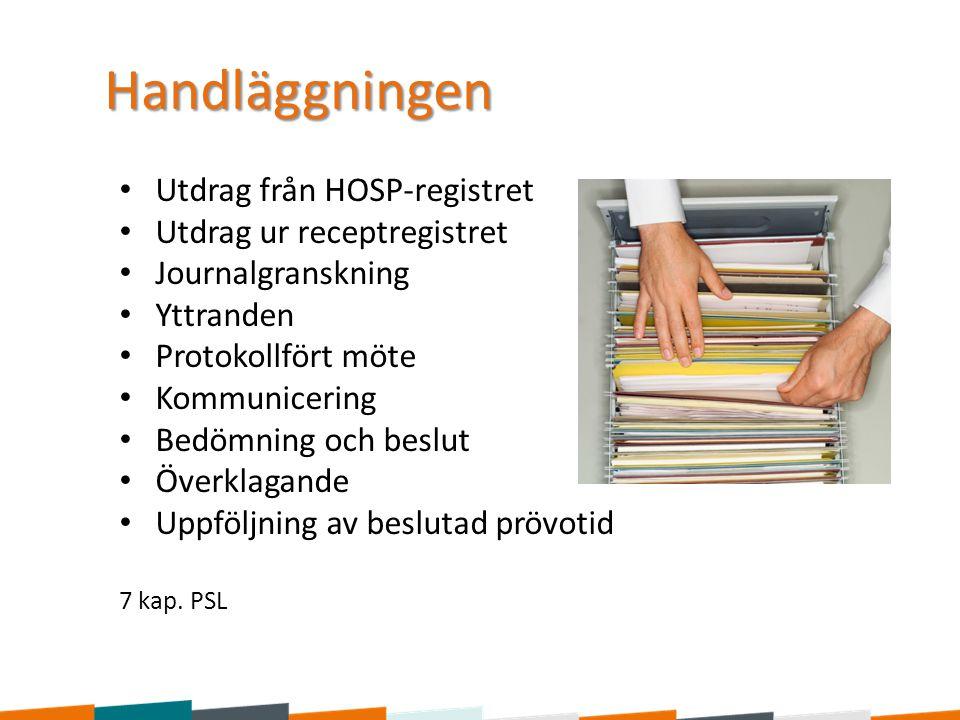 Handläggningen Utdrag från HOSP-registret Utdrag ur receptregistret