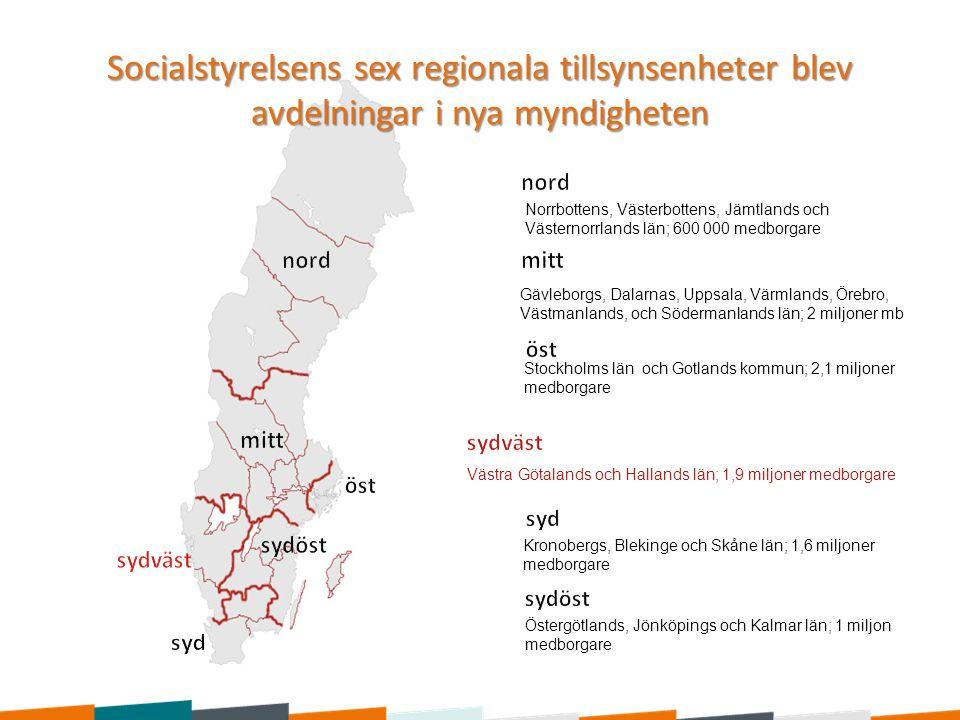 Socialstyrelsens sex regionala tillsynsenheter blev avdelningar i nya myndigheten