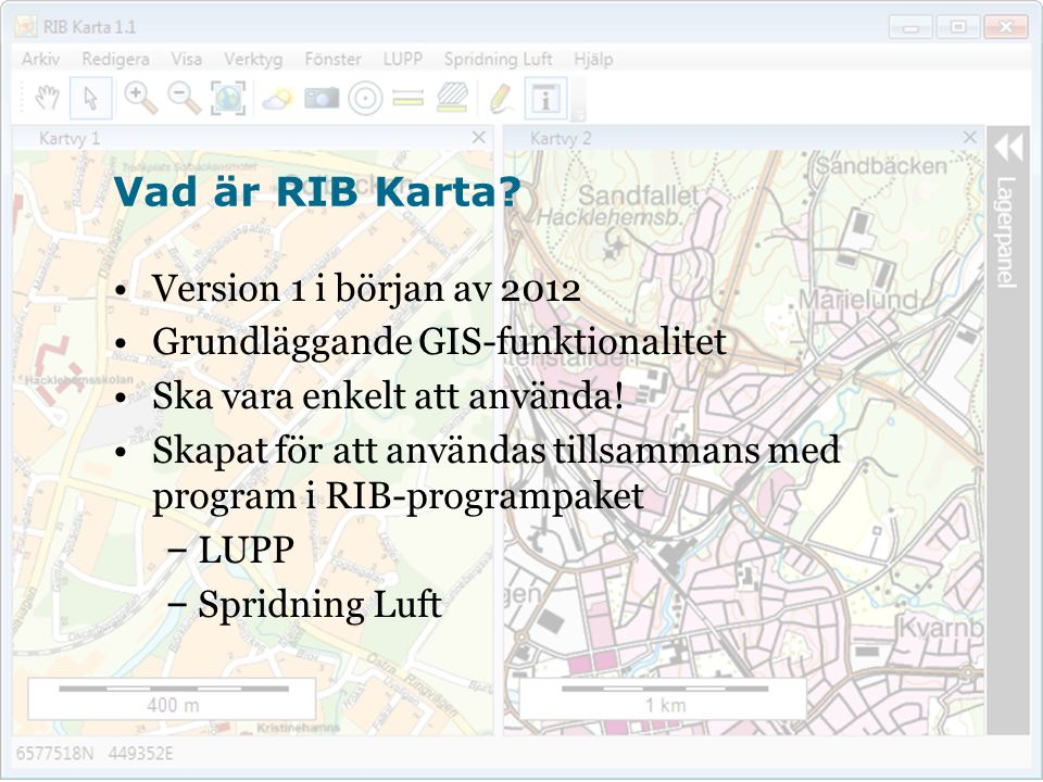 Vad är RIB Karta Version 1 i början av 2012
