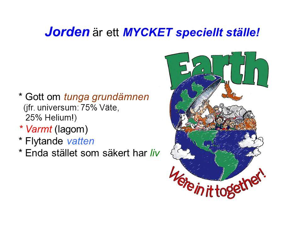 Jorden är ett MYCKET speciellt ställe!