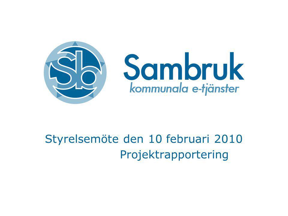 Styrelsemöte den 10 februari 2010 Projektrapportering