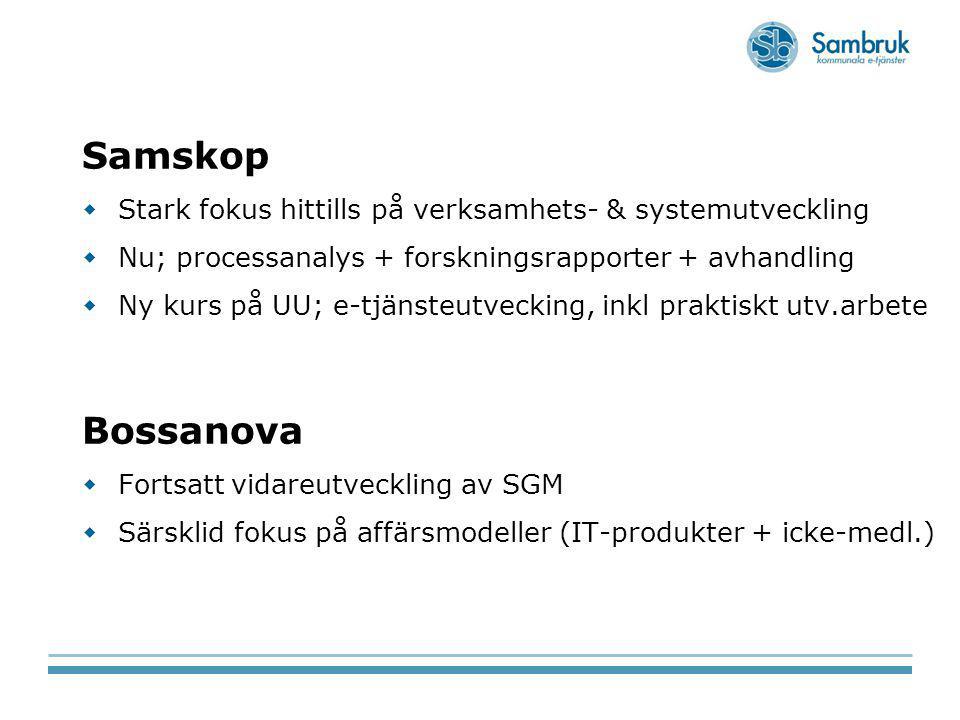 Samskop Stark fokus hittills på verksamhets- & systemutveckling. Nu; processanalys + forskningsrapporter + avhandling.
