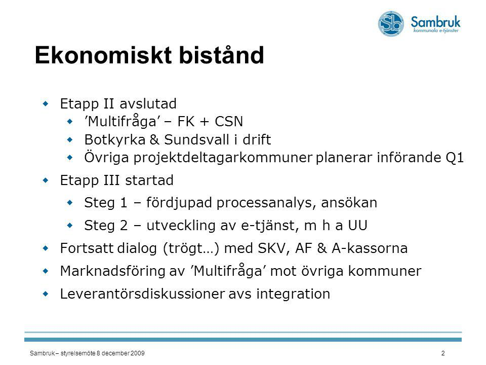 Ekonomiskt bistånd Etapp II avslutad 'Multifråga' – FK + CSN
