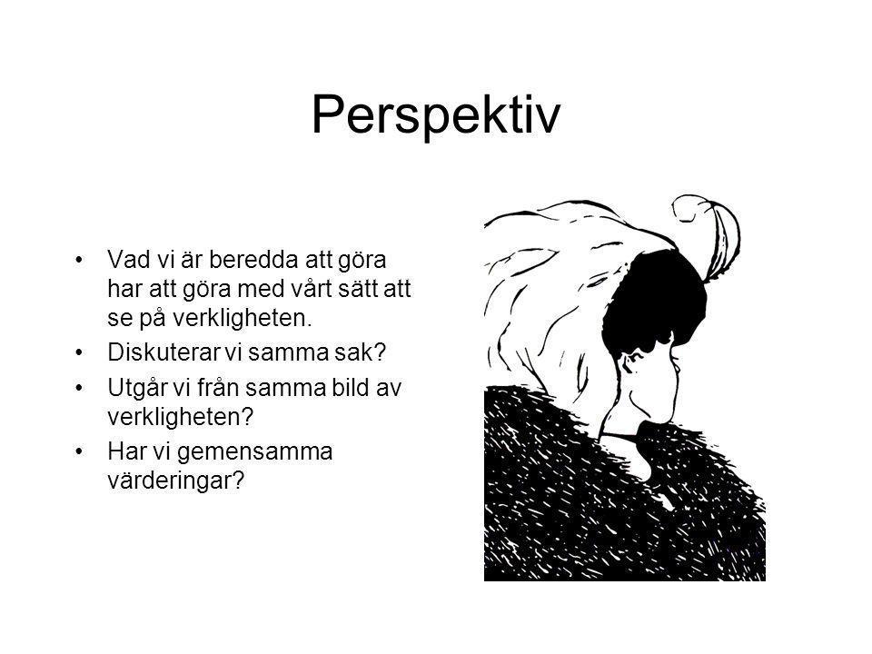 Perspektiv Vad vi är beredda att göra har att göra med vårt sätt att se på verkligheten. Diskuterar vi samma sak