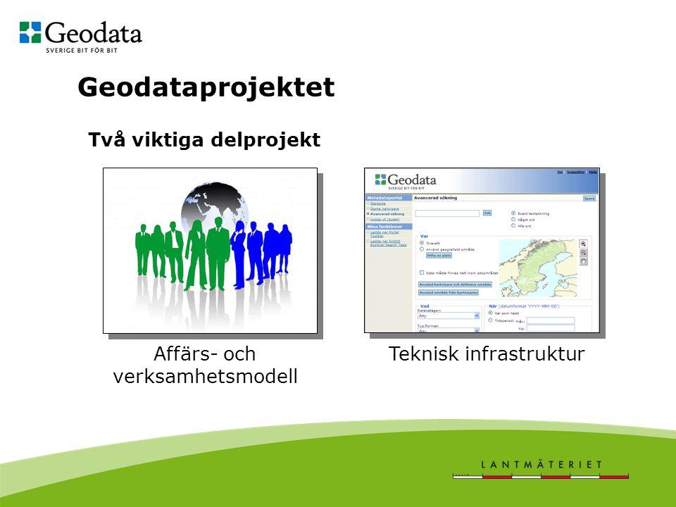 Geodataprojektet Två viktiga delprojekt Affärs- och verksamhetsmodell